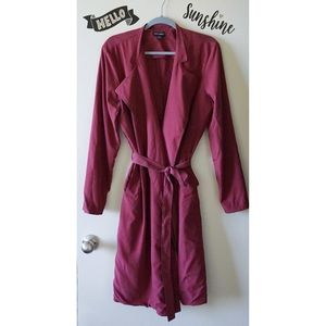 Classic Long Burgundy Red Light Duster Coat Robe M